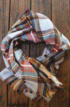 Autumn Plaid Checker Blanket Scarf