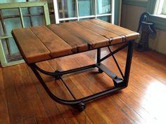 Reclaimed wood, industrial coffee table, metal, casters, barn wood industrial furniture