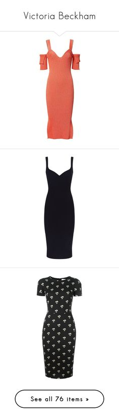 """""""Victoria Beckham"""" by hollygracem ❤ liked on Polyvore featuring dresses, red cold shoulder dress, rib knit dress, orange dress, open shoulder dress, cut out shoulder dress, sweetheart neckline dresses, structured dress, sweetheart neck dress and cami dresses"""