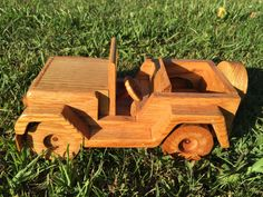 A personal favorite from my Etsy shop https://www.etsy.com/listing/257620365/oak-wood-jeep-miniture-truck-push-toy