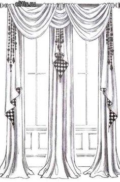 однотонные шторы с контрастной подкладкой