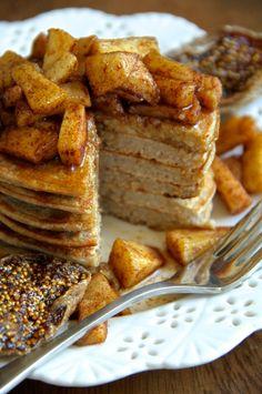 Apple Oat Greek Yogurt Pancakes -- Light, fluffy, and completely irresistible! || runningwithspoons.com #glutenfree #pancakes #breakfast