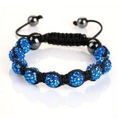Blue clay beads with Aurora Borealis Crystals, Shamballa bracelet.