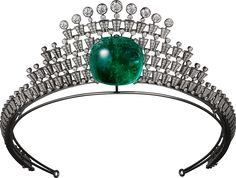 CARTIER. Tiara - white gold, one 140.21-carat cushion-shaped cabochon-cut emerald from Colombia, seven E/F IF/VVS1/VVS2 brilliant-cut diamonds totalling 4.58 carats, brilliant-cut diamonds. The creation can be worn as a tiara or a necklace.
