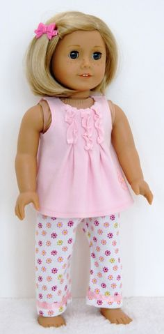 American Girl Doll Clothes 18 inch Doll Clothing Pink Ruffle Top PJ's with White Pink Flower Bottoms. $16.99, via Etsy.