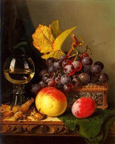 ✨ Edward Ladell - A still life of black grapes.