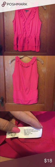 Ruffle peplum tank Pink ruffle tank. Polyester material. Waist has a ribbon drawstring which goes all the way around your waist. You can wear it as gathered or as lose as you like. GAP Tops Tank Tops