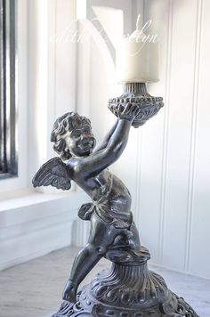 Antique Bronze Cherub Oil Lamp Salvage, Angel, Putti by edithandevelyn on Etsy