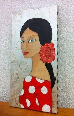 Alba. Mixta sobre lienzo 20x50 cm. Cuadro por CynthiaGordillo Painting People, Love Painting, Watercolor Art Face, Rooster Art, Spanish Art, Acrylic Painting Techniques, Tea Art, Diy Canvas Art, Amazing Art
