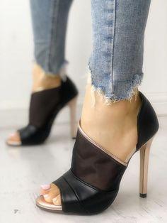 e6a40c895fc Mesh Insert Peep Toe Thin Heeled Sandals Heeled Boots