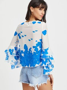 Printed Tiered Bell Sleeve Keyhole Back Top Bell Sleeve Blouse, Bell Sleeves, Pear Body, Fashion Over 50, Top P, Body Shapes, Dressing, Ruffle Blouse, Triangle