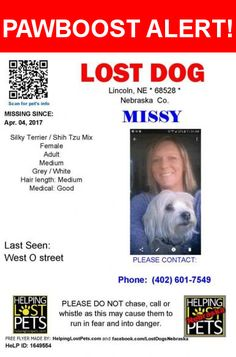 Please spread the word! Missy was last seen in Lincoln, NE 68528.  Message from Owner: My landlord has an older female silky terrier that is all white and bit of grey sure is older she was taken from West o and west 18th Street Lincoln he can not find a pic I can post he is very I'll with cancer she is his companion that helps him have a reason to keep going and comforts him after every cemo treatment please if any one knows someone who found her or took her I pray you help get her home it…