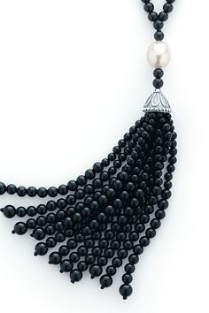 Tiffany & Co. Ziegfeld Collection tassel necklace of black onyx beads and freshwater cultured pearls in sterling silver. #TiffanyPinterest