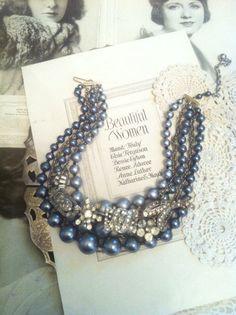 Vintage Rhinestone Brooch and Dark Silver Bead Statement Necklace. $30.00, my shop via Etsy.