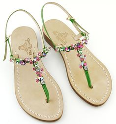 Vulcano Green Sandals bejewelled handmade sandals