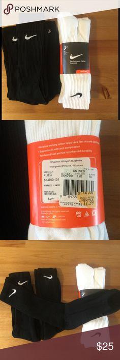 NWT unisex socks Nike 6x (12-15size) Six pairs of unisex Nike socks. 3/3 white/black. Size 12-15 or XL. Nike Underwear & Socks Athletic Socks