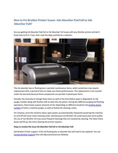How to fix brother printer issues ink absorber pad full or ink absorber full? Brother Printers, Your Brother, Ink, Reading, Word Reading, India Ink, Reading Books, Libros