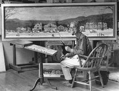 Norman Rockwell in his studio with the Stockbridge Main Street at Christmas painting Norman Rockwell Christmas, Norman Rockwell Art, Norman Rockwell Paintings, Max Ernst, Alberto Giacometti, Alphonse Mucha, Camille Pissarro, Diego Rivera, Famous Artists