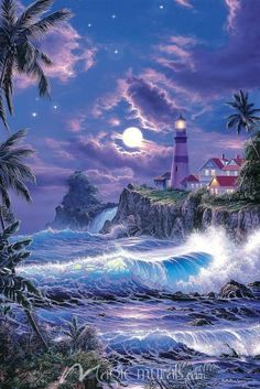 Beautiful Paintings of Lighthouses Lighthouse Painting Lighthouse Storm, Lighthouse Painting, Beautiful Paintings, Beautiful Landscapes, Ciel Nocturne, Lighthouse Pictures, Beautiful Moon, Simply Beautiful, Fantasy Landscape
