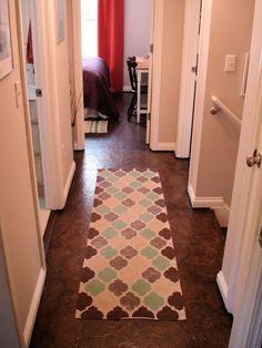 Cheap paper bag flooring over plywood subfloor. Brown Paper Flooring, Paper Bag Flooring, Diy Flooring, Flooring Options, Flooring Ideas, Inexpensive Flooring, Basement Flooring, Kitchen Flooring, Basement Steps