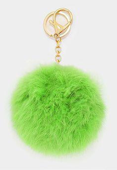 Large Rabbit Fur Pom Pom Keychain, Key Ring Bag Pendant Accessory - Green