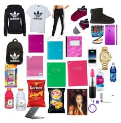 """school flow "" by londonwashere ❤ liked on Polyvore featuring adidas, adidas Originals, UGG Australia, Yoobi, Paper Mate, BIC, Mead, MAC Cosmetics, Speck and Mophie"