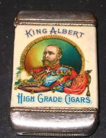 King Albert High Grade Cigars Detroit MI Celluloid Match Safe Gustav Moebs Co