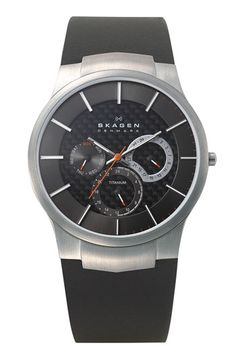 Skagen Multifunction Leather Strap Watch available at #Nordstrom