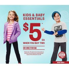 $5.00 or One for $6.00 on Kids & Baby Essentials @ Postie - Bargain Bro