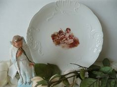 Pretty Vintage Shabby Chic Hand Painted Plate With Plump Little Cherubs by MossyCottage on Etsy