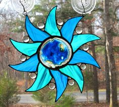Stained Glass Suncatcher - Pinwheel with Agate - Aqua Blue and Teal Green