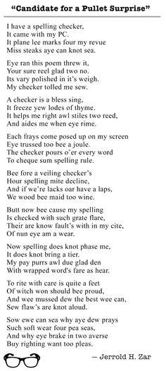 #English #grammar #homophones #homonyms #poem #JerroldZar