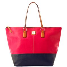 Dooney, I saw one with a pink top and a black bottom at Macys :) It was gorgeous!