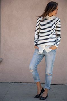 Jeans for casual look: 19 amazing outfit ideas - style motivation breton sh Mode Outfits, Casual Outfits, Fashion Outfits, Fashion Trends, Boyfriend Jeans, Mode Cool, Look 2015, Looks Cool, Mode Inspiration