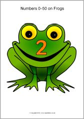 Numbers 0-50 on frogs (SB216) - SparkleBox