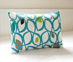 lumbar pillow cover teal blue, lime green, grey cushion cover, 12 x 16 inch decorative cushion cover
