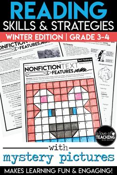 Students will love practicing important reading skills and strategies with these winter-themed color-by-code mystery picture grids and practice sheets! You'll love the ease of planning! Just PRINT & GO!  Need a day off or a sick day at home? This is a great resource to leave for a substitute!  Six different reading skills are included with matching mystery picture grids.  Includes: Text Evidence, Theme, Characterization, Main Idea, Text Features, and Context Clues.