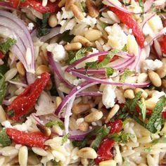 Orzo, feta and pepper salad