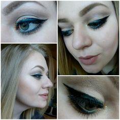 #face #makeup #eyeliner #blueandgold