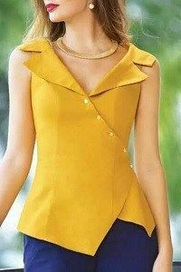 Prefer this to waist, not longer. blusa y pantalon, blusa mostaza, color Blouse Styles, Blouse Designs, Dress Designs, Couture, Indian Designer Wear, Sleeveless Shirt, Mode Style, Indian Wear, African Fashion