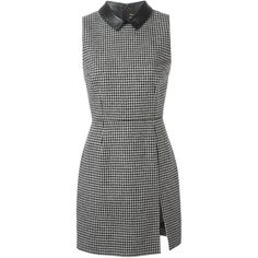 Saint Laurent Fitted Houndstooth Dress ($2,990) ❤ liked on Polyvore featuring dresses, black, sleeveless pencil dress, form fitting dresses, black sleeveless dress, black pencil dress and form fitted dresses