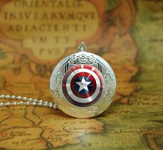 captain America locket necklace captain America shield by peegu, $13.00