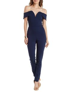 Off-the-Shoulder Sweetheart Jumpsuit by Charlotte Russe - Navy