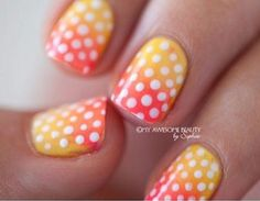 Summer ombre polka dot nails!