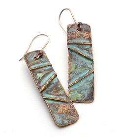 Fold Formed Copper Earrings.