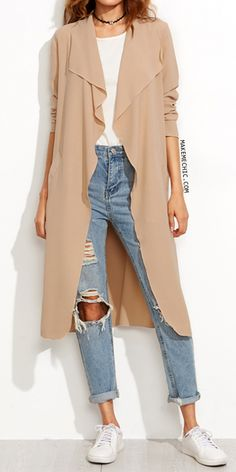Camel Draped Collar Wrap Coat