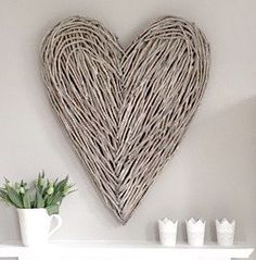 Extra Large Wicker Wall Heart- Forward Orders As Due In End of March - Maison by Emma Jane