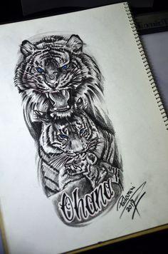 Family tiger tattoo sketch - by Thiago Padovani - - Tiger Tattoo, Leg Tattoos, Sleeve Tattoos, Family Sketch, Lion Family, Thai Tattoo, Watch Tattoos, Family Tattoos, Toddler Art