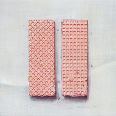 Pink wafer pair by Joel Penkman Joel Penkman, Candy Drawing, British Desserts, Food Painting, Tasty, Yummy Food, Artist Sketchbook, Heart Art, Food Illustrations