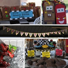Cars 2 goodie bag idea, maybe I can make a Finn and Mc Queen, Stoplight brownies would be great too.